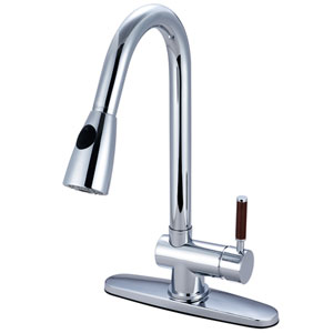 Wilshire Chrome 8-Inch Centerset Low Lead Single Handle Kitchen Faucet with  Pull-Out Sprayer