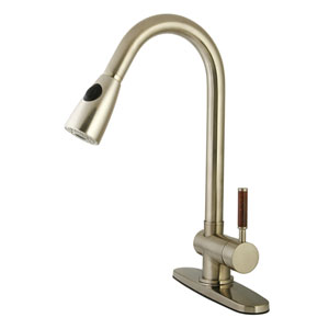 Wilshire Satin Nickel 8-Inch Centerset Low Lead Single Handle Kitchen Faucet with  Pull-Out Spray Kitchen Faucet