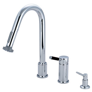 Kaiser Chrome Widespread Low Lead Single Handle Kitchen Faucet with Pull-Out Sprayer and  Soap Dispenser