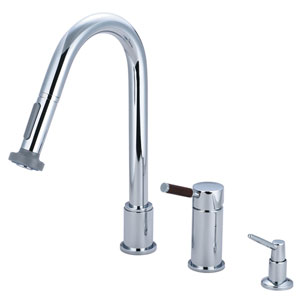 Wilshire Chrome Widespread Low Lead Single Handle Kitchen Faucet with Pull-Out Sprayer and  Soap Dispenser