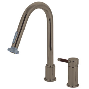 Wilshire Satin Nickel Widespread Low Lead Single Handle Kitchen Faucet with Pull-Out Sprayer