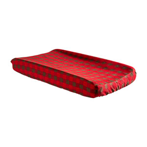 Brown and Red  Buffalo Check Deluxe Flannel Changing Pad Cover