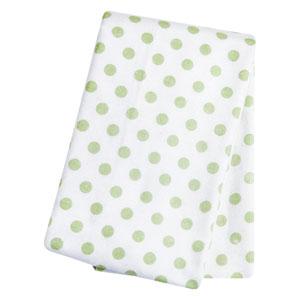 Sage Dot Deluxe Flannel Swaddle Blanket