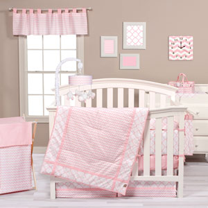 Pink Sky Three-Piece Crib Bedding Set