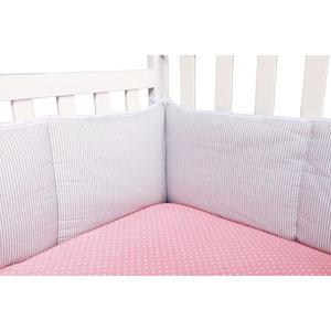 Dove Gray Stripe Crib Bumpers