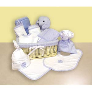 Blue Deluxe Baby Gift Basket Set