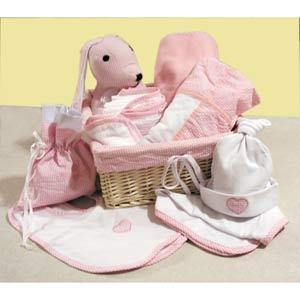 Pink Deluxe Baby Gift Basket Set