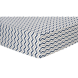Navy and Gray Chevron Deluxe Flannel Fitted Crib Sheet