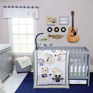Safari Rock Band Six-Piece Crib Bedding Set