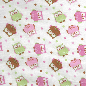 Owl Print Flannel Green, Pink, Brown and White Crib Sheet
