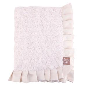Ruffle Trimmed Cream Swirl Velour Receiving Blanket
