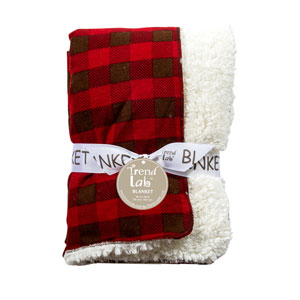 Brown and Red Buffalo Check Faux Shearling Blanket