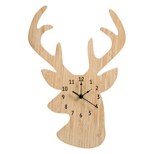 Bamboo Stag Head Wall Clock