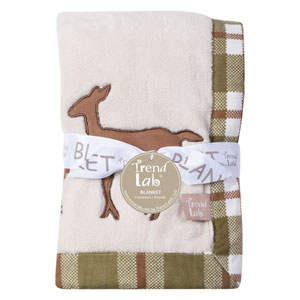 Deer Lodge Framed Coral Fleece Baby Blanket