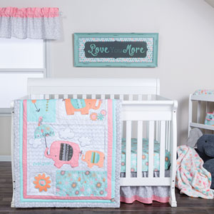 Playful Elephants Three-Piece Crib Bedding Set