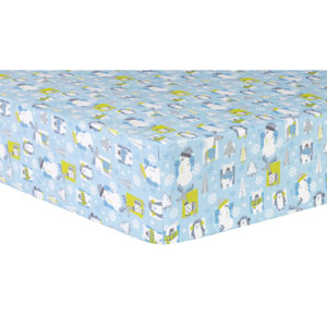 Snow Pals Blue Deluxe Flannel Fitted Crib Sheet