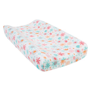 Coral Floral Plush Changing Pad Cover