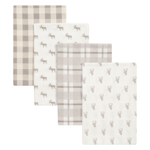 Stag and Moose Flannel Blankets, Set of Four