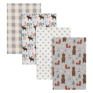 Scandi Cocoa Flannel Blankets, Set of Four