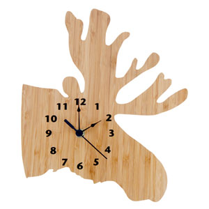 Northwoods Natural and Black Moose Wall Clock