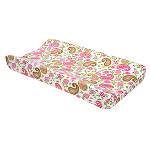 Paisley Park Pink, Green and White Changing Pad Cover