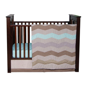 Cocoa Mint Three Piece Crib Bedding Set