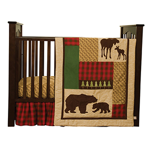 3 Piece Crib Bedding Set Green and Brown Northwoods