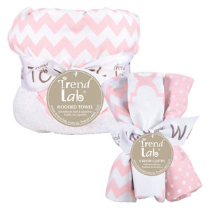 Pink Sky Six-Piece Chevron Hooded Towel and Wash Cloth Set