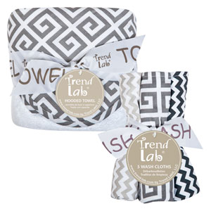 Ombre Gray Six-Piece Deluxe Hooded Towel and Wash Cloth Set