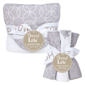 Circles Gray Six-Piece Hooded Towel and Wash Cloth Set