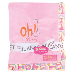 Dr. Seuss Oh, the Places Youll Go Pink Ruffled Velour Baby Blanket