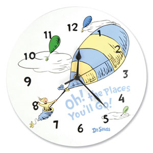 Dr. Seuss Oh The Places Youll Go Blue Wall Clock