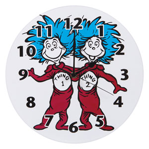 Dr. Seuss Thing 1 Thing 2 Wall Clock