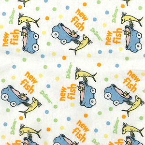 Dr. Seuss One Fish Two Fish Flannel Multi-Colored Crib Sheet