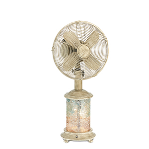 Mosiac Glass Sea Breeze Table Fan with Light