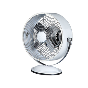 White 12-Inch Retro Swivel Fan