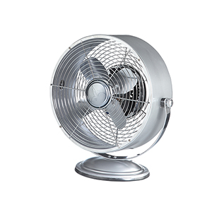 Silver Metallic 12-Inch Retro Swivel Fan