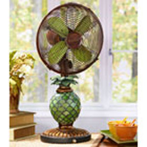 Antique Green / Brown 10 Inch Table Fan Mosaic Glass Pineapple