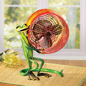 Green Orange Figurine Fan Gecko (Small)