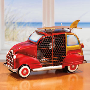 Red White Goldish Brown Black Figurine Fan Woody Car