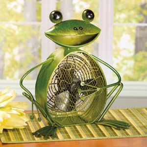 Green Figurine Fan Frog