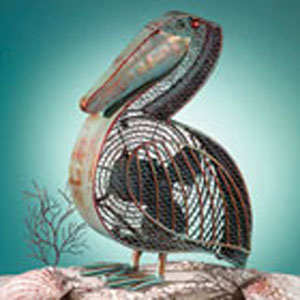 Green and Copper Figurine Fan Pelican