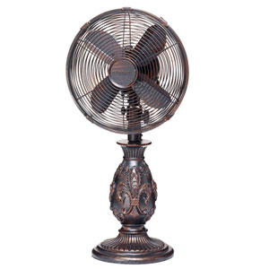 Multi Colored 10 Inch Table Fan Fleur De Lis Copper