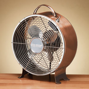 Multi Colored 9 Inch Retro Metal Fan Copper