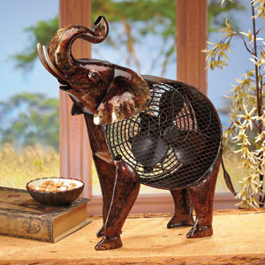 Multi Colored Figurine Fan African Elephant