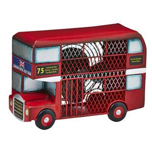 Red Double Decker Bus Figurine Fan