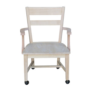Dining Chair with Casters Unfinished