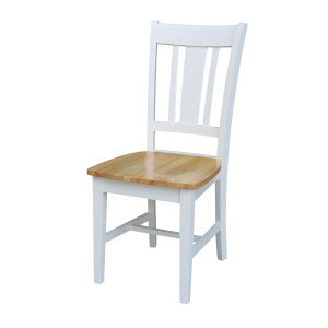 San Remo White Natural Chair, Set of Two