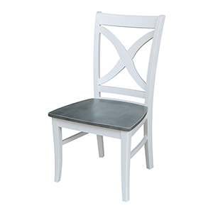 Vineyard White and Heather Gray Curved X-Back Dining Chair-Set of Two