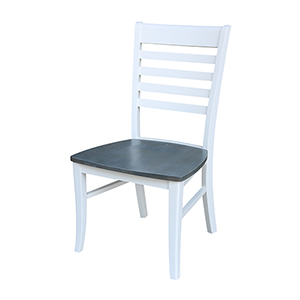 Cosmo Roma White and Heather Gray Dining Chair- Set of Two
